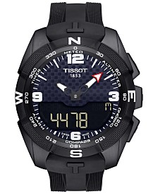 Tissot Men's Swiss Analog-Digital T-Touch Solar Black Rubber Strap Watch 45mm T0914204705701
