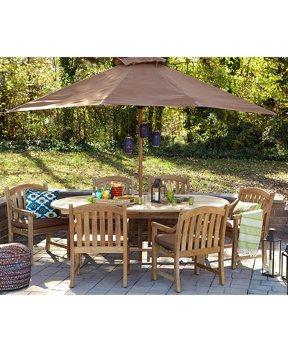 """Furniture Bristol Outdoor Teak 7-Pc. Dining Set (87"""" x 47"""" Dining Table and 6 Dining Chairs), Created for Macy's"""