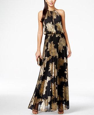 MSK Metallic-Print Pleated Blouson Gown - Dresses - Women ...