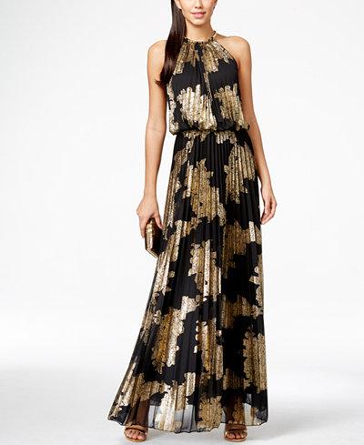 msk metallicprint pleated blouson gown dresses women