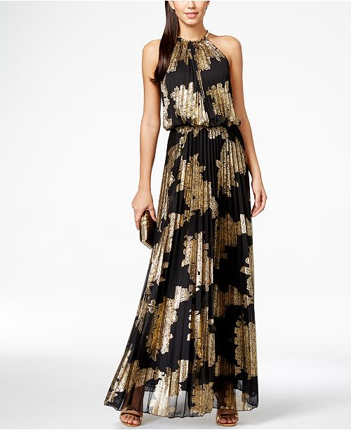 Msk Metallic Print Pleated Blouson Gown Amp Reviews