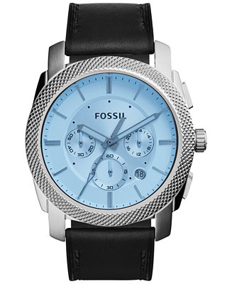 Fossil Men's Chronograph Machine Black Leather Strap