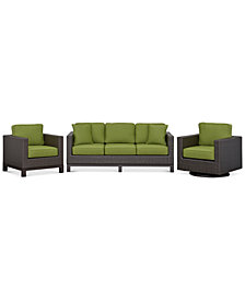 CLOSEOUT! Katalina Outdoor Wicker 3-Pc. Seating Set (1 Sofa, 1 Club Chair and 1 Swivel Glider, Created for Macy's)