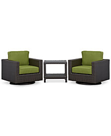 CLOSEOUT! Katalina Outdoor Wicker 3-Pc. Seating Set (2 Swivel Gliders and 1 End Table), Created for Macy's