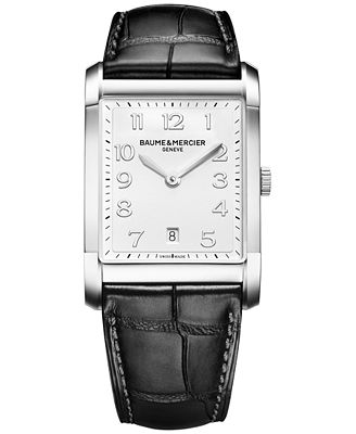 Baume & Mercier Men's Swiss Hampton Black Leather Strap Watch 42x29mm M0A10154