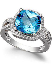 Blue Topaz (4-3/4 ct. t.w.) and Diamond (1/3 ct. t.w.) Ring in 14k White Gold