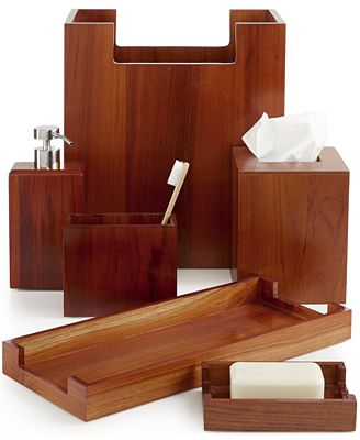 closeout! hotel collection teak wood bath accessories, created for