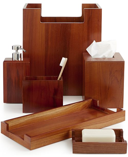Hotel Collection CLOSEOUT! Teak Wood Bath Accessories, Created for ...