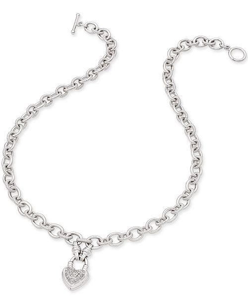 Macy's Diamond Heart Pendant Necklace (1/4 ct. t.w.) in Sterling Silver