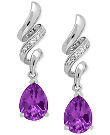 Amethyst (1-9/10 ct. t.w.) and Diamond Accent Squiggle Earrings in Sterling Silver