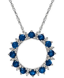 Sapphire (1-1/5 ct. t.w.) and White Topaz (1/10 ct. t.w.) Pendant Necklace in Sterling Silver