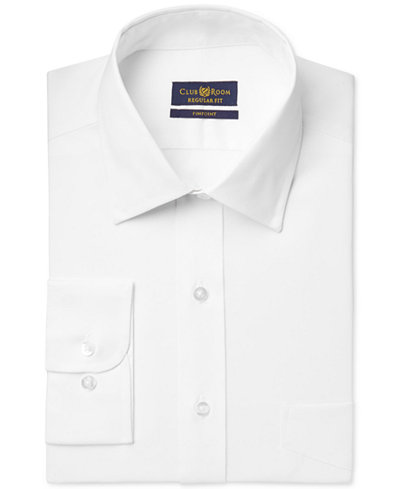 Club Room Estate Classic-Fit Wrinkle Resistant White Solid Dress Shirt, Created for Macy's