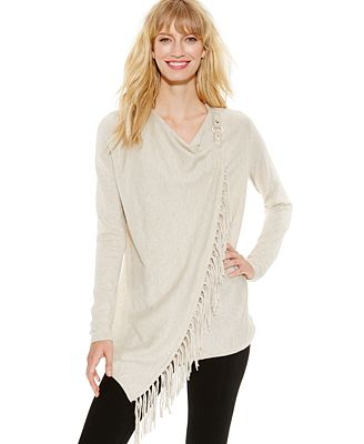 INC International Concepts Fringe Wrap Cardigan - Sweaters - Women ...