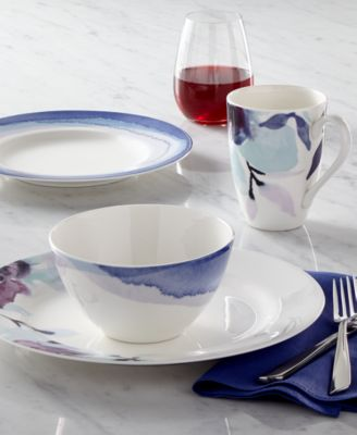 Indigo Watercolor Stripe Porcelain 4-Pc. Place Setting, Created for Macy's