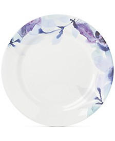 Indigo Watercolor Floral  Porcelain Dinner Plate, Created for Macy's