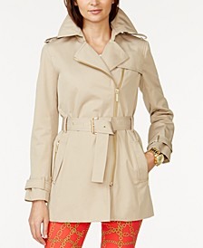 Belted Front-Zip Trench Coat in Regular & Petite Sizes