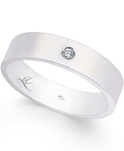 Diamond Accent 5MM Wedding Band in 18k White Gold