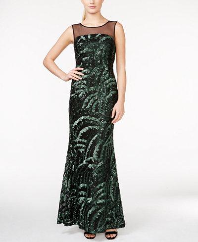 Calvin Klein Sequin Illusion-Yoke Gown