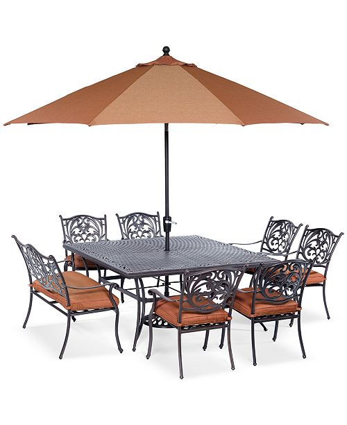 "Furniture Chateau Outdoor Cast Aluminum 8-Pc. Dining Set (64"" Square Dining Table,  6 Dining Chairs and 1 Bench), Created for Macy's"