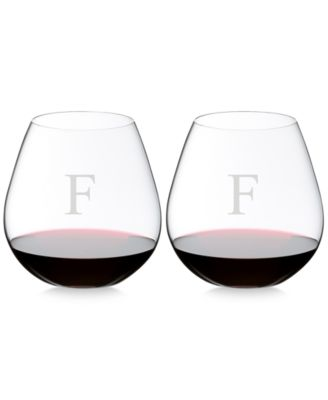 O Monogram Collection 2-Pc. Block Letter Pinot Noir Stemless Wine Glasses