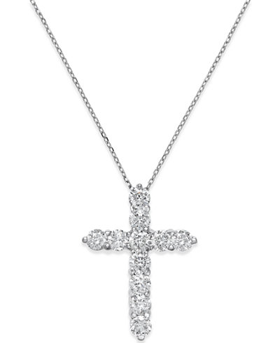 Diamond Cross Pendant Necklace 2 Ct T W In 14k White