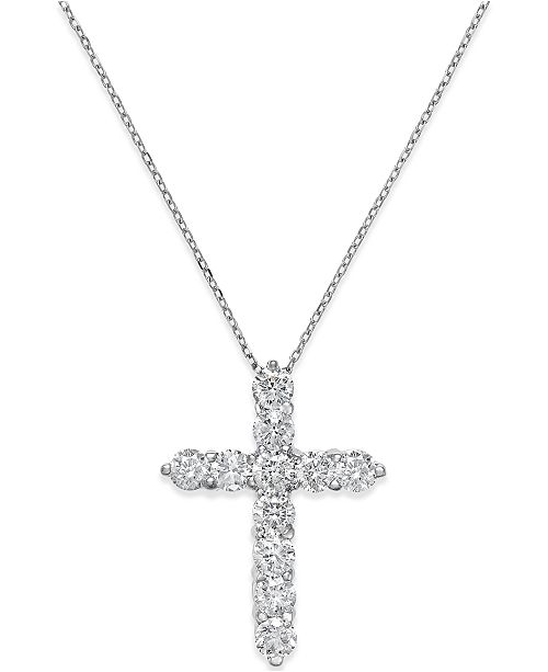 a7d0bb4aad9 Macy s Diamond Cross Pendant Necklace (2 ct. t.w.) in 14k White Gold ...