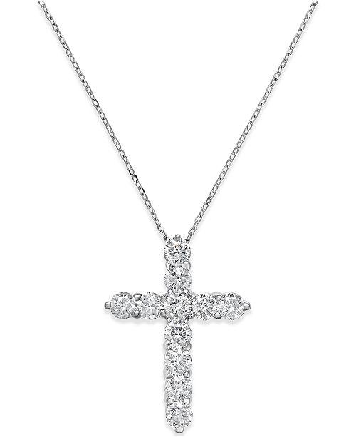 c320882c7221 Macy s Diamond Cross Pendant Necklace (2 ct. t.w.) in 14k White Gold ...