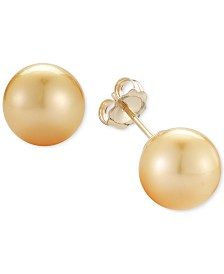 Cultured Golden South Sea Pearl Stud Earrings (9mm) in 14k Gold
