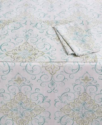 "French Perle Charm Collection 84"" Oblong Tablecloth"