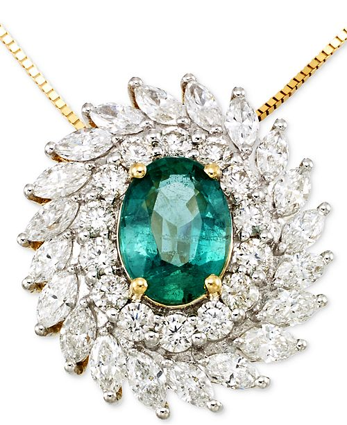 RARE Featuring GEMFIELDS Emerald (9/10 ct. t.w.) and Diamond (1-1/4 ct. t.w.) Pendant Necklace in 14k Gold