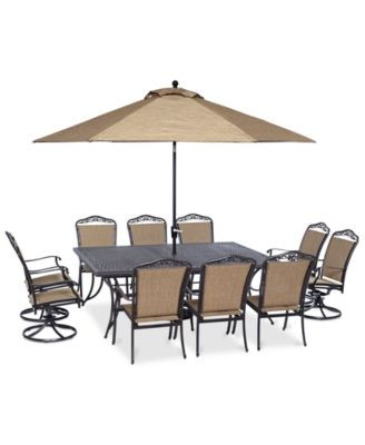 """Beachmont II Outdoor 11-Pc. Dining Set (84"""" x 60"""" Dining Table, 6 Dining Chairs and 4 Swivel Rockers), Created for Macy's"""