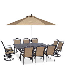 "Beachmont II Outdoor 11-Pc. Dining Set (84"" x 60"" Dining Table, 6 Dining Chairs and 4 Swivel Rockers), Created for Macy's"