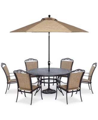 """Beachmont II Outdoor 7-Pc. Dining Set (60"""" Round Table,and 6 Dining Chairs),  Created for Macy's"""