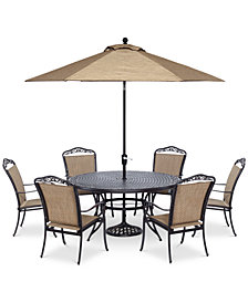 """furniture beachmont ii outdoor 7-pc. dining set (60"""" round table,and"""