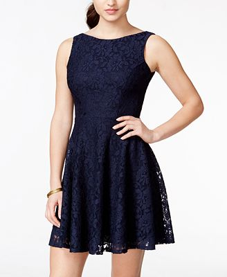 Speechless Juniors Lace Fit Flare Tank Dress Created For Macy S