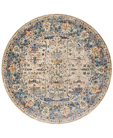 "Macy's Fine Rug Gallery Andreas   AF-07 Sand/Light Blue 5'3"" Round Rug"
