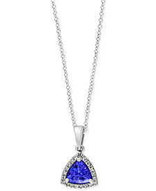 Tanzanite Royalé by EFFY Tanzanite (5/8 ct. t.w.) and Diamond Accent Pendant Necklace in 14k White Gold