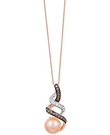 Chocolatier® Freshwater Pearl (8mm) and Diamond (1/5 ct. t.w.) Pendant Necklace in 14k Gold and White Gold