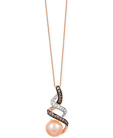 Le Vian Chocolatier® Freshwater Pearl (8mm) and Diamond (1/5 ct. t.w.) Pendant Necklace in 14k Gold and White Gold