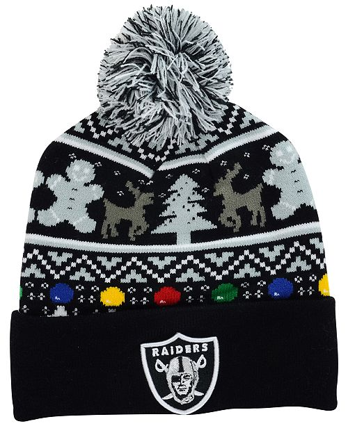 New Era Oakland Raiders Christmas Sweater Pom Knit Hat - Sports Fan ... 8eb19009099e