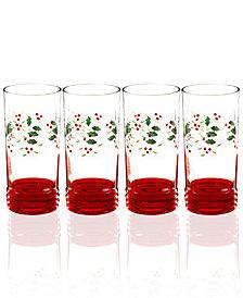 Pfaltzgraff Winterberry Set of 4 Highball Glasses