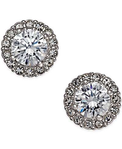 Danori Silver-Tone Framed Crystal Stud Earrings, Created for Macy's