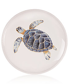 Fitz and Floyd Cape Coral Collection Turtle Accent Plate