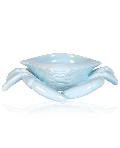 Fitz and Floyd Cape Coral Collection Light Blue Crab Butter Dish