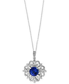 Tanzanite Royalé by EFFY Tanzanite (1-9/10 ct. t.w.) and Diamond (1/3 ct. t.w.) Scrolled Pendant Necklace in 14k White Gold, Created for Macy's