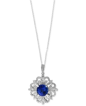 Tanzanite Royale by Effy Tanzanite (1-9/10 ct. t.w.) and Diamond (1/3 ct. t.w.) Scrolled Pendant Necklace in 14k White Gold, Created for Macy's