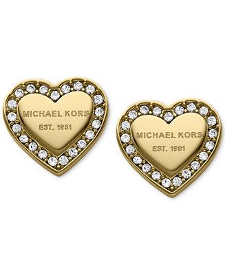 Michael Kors Crystal Heart Stud Earrings Fashion Jewelry