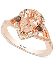 Chocolatier® Peach Morganite (1-1/3 ct. t.w.) and Diamond (1/5 ct. t.w.) Ring in 14k Rose Gold, Created for Macy's