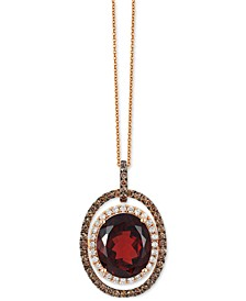 Chocolatier® Garnet (5-1/2 ct. t.w.) and Diamond (2/3 ct. t.w.) Pendant Necklace in 14k Rose Gold, Created for Macy's