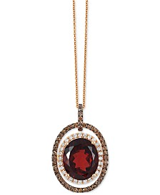 Le Vian Chocolatier® Garnet (5-1/2 ct. t.w.) and Diamond (2/3 ct. t.w.) Pendant Necklace in 14k Rose Gold, Created for Macy's